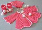 pink and white sweater booties and bonnet