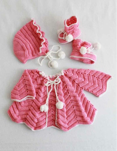 pink and white ripple layette set