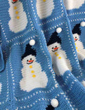 snowman afghan blue and white