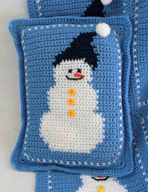 Snowman Afghan And Pillow Crochet Pattern Maggie S Crochet