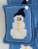 snowman pillow blue and white