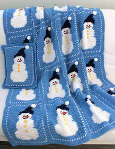 snowman afghan and pillow blue and white