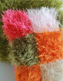 Multicolored furry square pillow