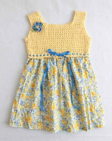 yellow and blue sundress with blue ribbon