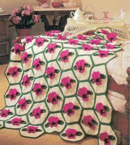Pink and Green Floral Afghan