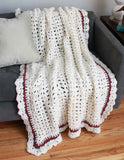 shell elegance afghan white with stripe border