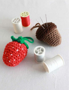 strawberry and acorn pincushions