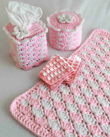quick and easy shell bath set toilet tissue topper kleenex cover rug washcloth