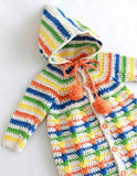 orange green yellow blue and white puff stitch hooded  baby bunting