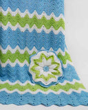 ripple baby afghan and pillow blue white and green