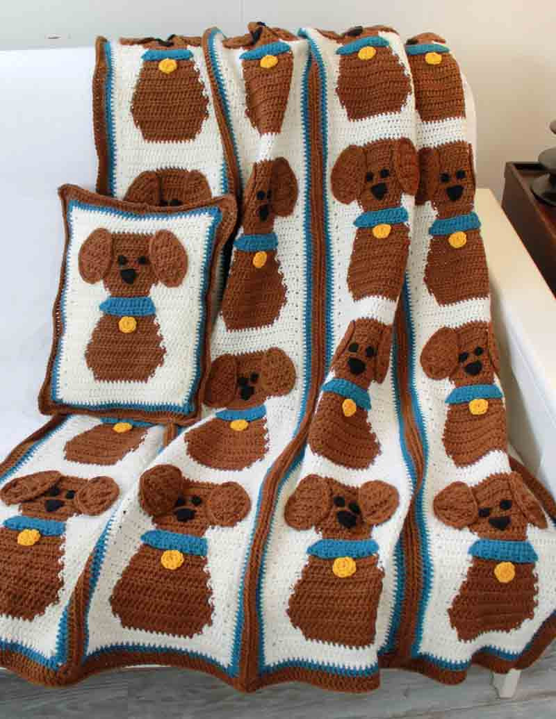 Puppy Love Afghan And Pillow Crochet Pattern Maggie S