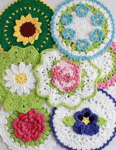 Floral Bouquet of Dishcloths Set 1 Crochet Pattern - Maggie's Crochet