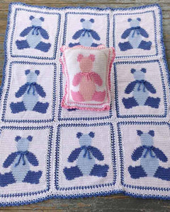Baby Bears Afghan and Pillow Crochet Pattern