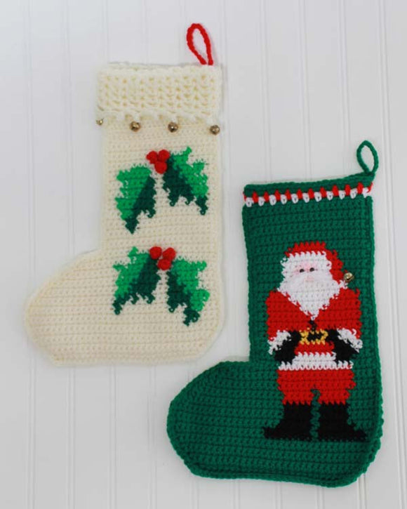 Santa and Holly Stockings Crochet Pattern - Maggie's Crochet