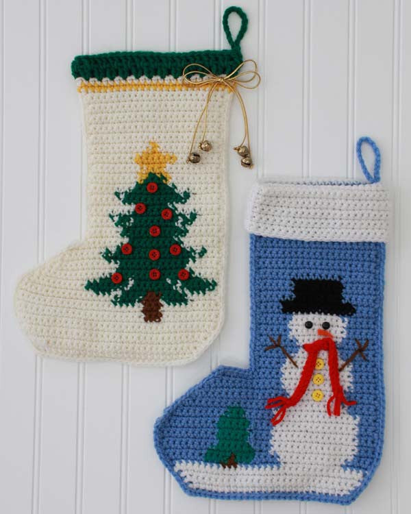 Snowman And Tree Stockings Crochet Pattern
