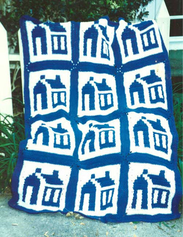 schoolhouse afghan and pillow pattern white and blue