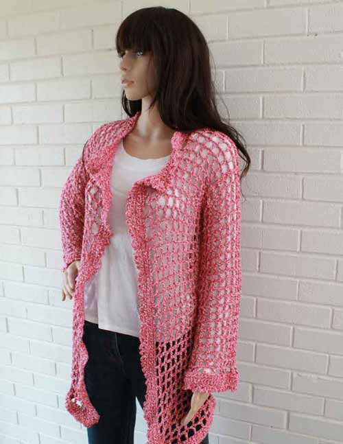 Super Easy Filet Cardigan Crochet Pattern(with 3 length options) - Maggie's Crochet