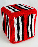 red black and white block