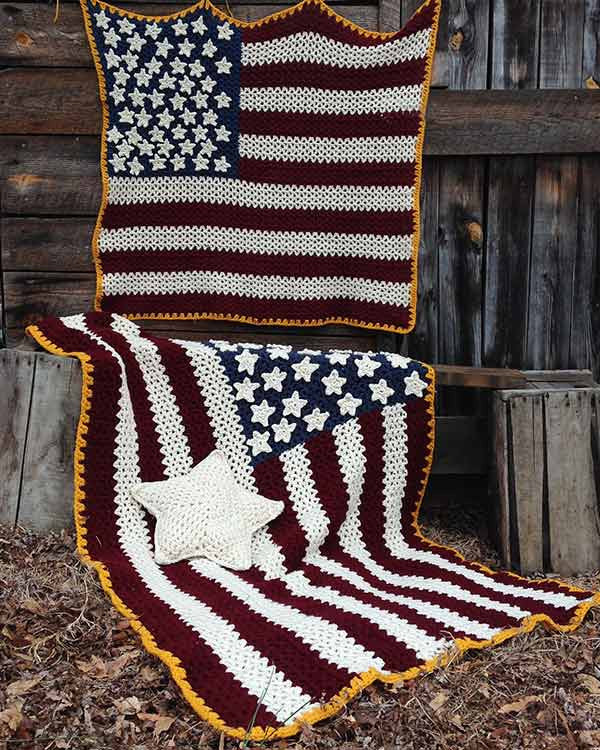 Americana Afghan Pillow Amp Wall Hanging Crochet Pattern