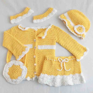 yellow sunny days ensemble crochet pattern jacket hat skirt purse pants