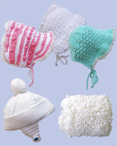Snuggly Cap, Bonnets, and Muffler Crochet Pattern