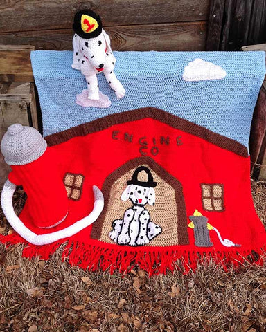 Fire House Afghan and Toy Crochet Pattern