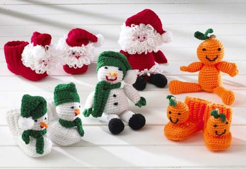 Holiday Bootie Buddies Set 1 Crochet Pattern - Maggie's Crochet