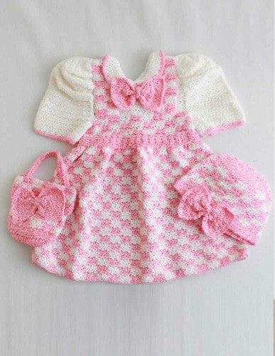 Madeline Pink Check Outfit Crochet Pattern - Maggie's Crochet