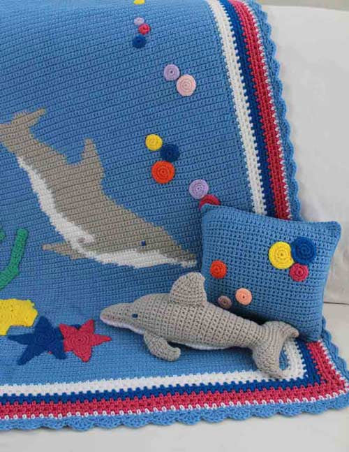 Dolphin Afghan Pillow & Toy Crochet Pattern - Maggie's Crochet