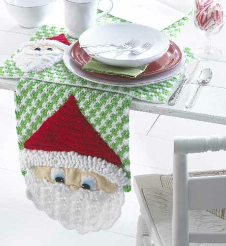 Santa Table Runner And Placemats Crochet Pattern Maggie