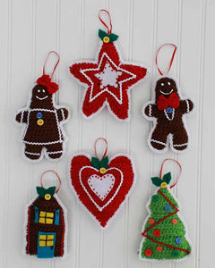 Gingerbread Christmas Tree Ornaments Crochet Pattern - Maggie's Crochet