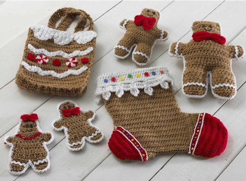 gingerbread stocking and gift set crochet pattern