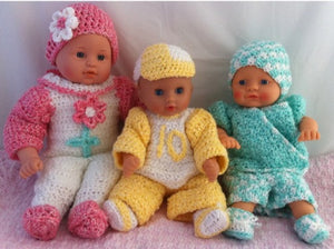 "Carly, Cliff and Cody 12-15"" Doll Outfits Set 1 Crochet Pattern - Maggie's Crochet"