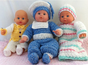 "Riley, Randy, & Rita (12-15"" Doll Outfits) Crochet Pattern - Maggie's Crochet"