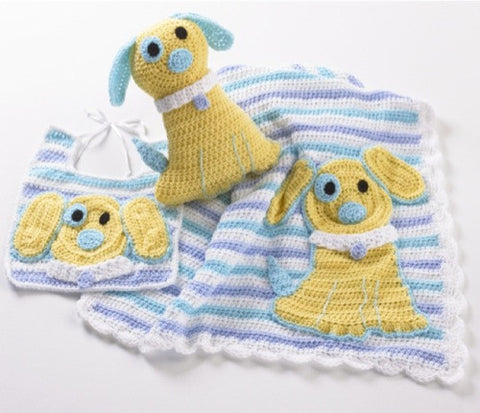 ringo the pup blue white and yellow bib afghan and toy