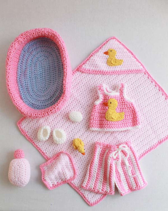 Doll Bath Set Crochet Pattern - Maggie's Crochet