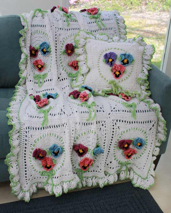 Pansy Afghan and Pillow Set