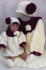 "18"" Paper Moon Dolly & Me Dress Set Crochet Pattern - Maggie's Crochet"