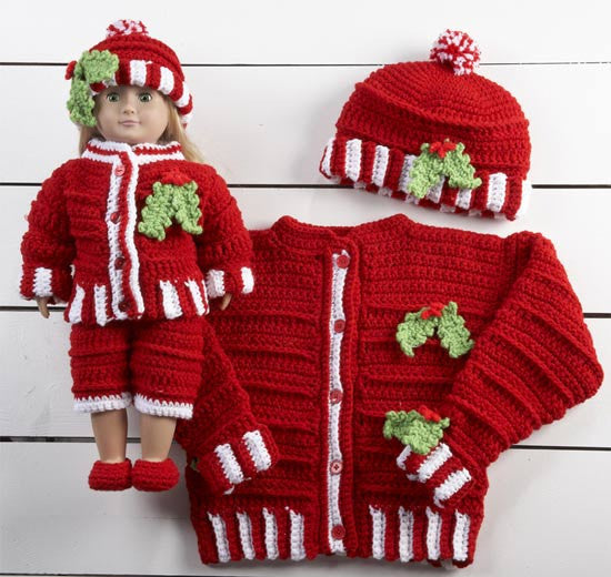 Dolly and Me Christmas Outfits Crochet Pattern - Maggie's Crochet