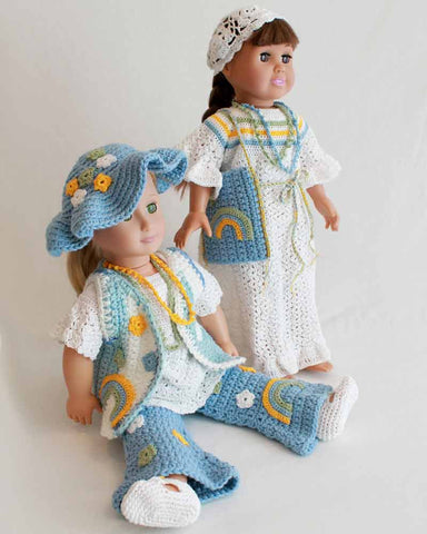 two hippy dressed dolls with hats and coordinating accessories