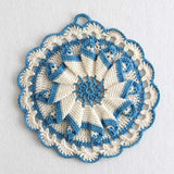 vintag blue crochet potholder