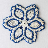 vintage crochet blue potholder