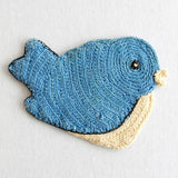 vintage bird crochet potholder blue