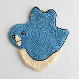 vintage crochet blue bird potholder