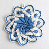 vintage blue potholder
