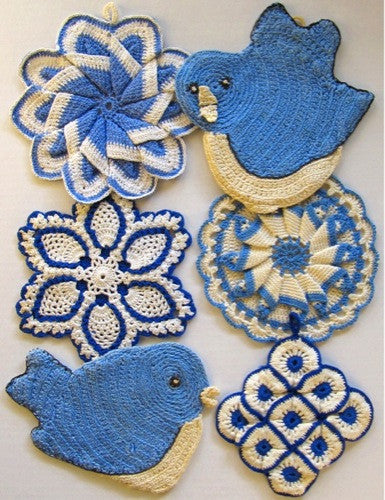 vintage blue crochet potholder