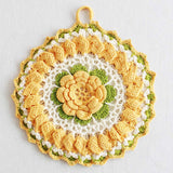 vintage crochet floral yellow rose