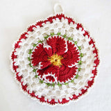 vintage floral crochet potholders red