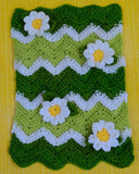 green and white baby doll flower afghan