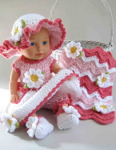 Pink baby doll flower outfit with  matching afghan